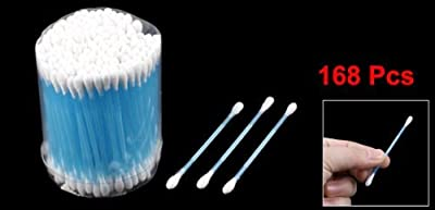 Move&Moving(TM) 168 Pcs Disposable Double End Blue Plastic Tube Cotton Swab Bud Earwax Remover