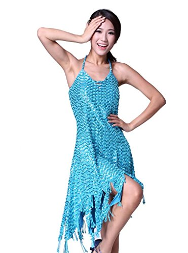Feimei Women's Heavy Beaded Sequins Latin Dance Dress Cotton