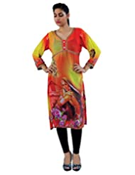 CrazeVilla Women Orange Color Digital Print Georgette Kurti - B015SHOTS8