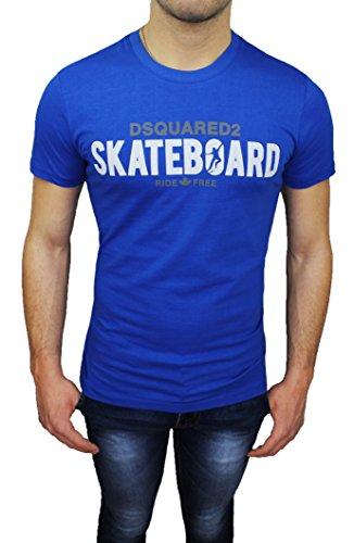 T-Shirt maglia uomo Dsquared 2 blu girocollo maniche corte 100% cotone (XL)