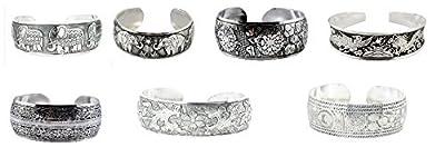 Unisex Alloy Silver Tone Unique Wide Cuff Bracelet