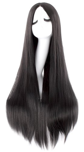 Great Group Halloween Costumes: The Addams Family - Morticia Long Straight Cosplay Wig Anime Costume Party Wig (Black)