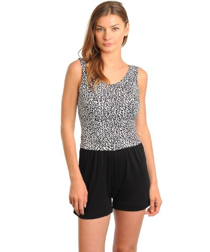 G2 Fashion Square Women's Leopard Print Romper