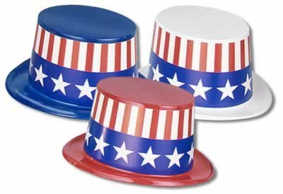 Plastic Toppers w/Patriotic Band (asstd red, white, blue) Party Accessory  (1 count)