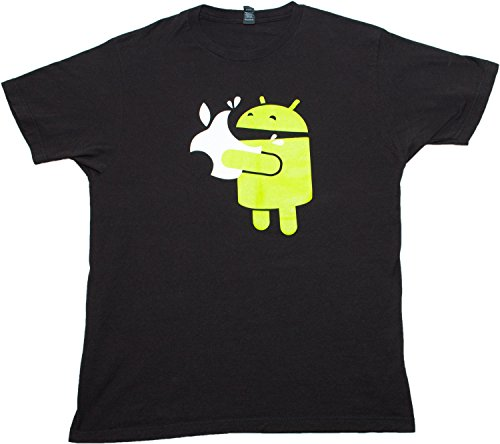 Green Robot Eats an Apple | Funny Mobile App Developer Humor Unisex T-shirt-Large