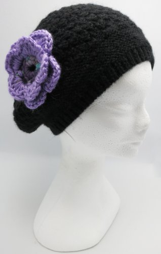 Knitted by Hand Beret Hat – Alpaca Natural Fiber – Piano Black (Women)