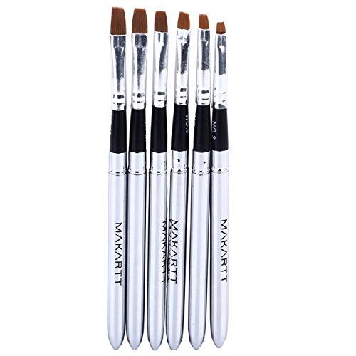 MAKARTT® 6pcs/set Detachable UV Gel Brush Set Acrylic Nail Art Design Builder DIY Flat Brush Pen Set (Gel Brushes For Nails compare prices)