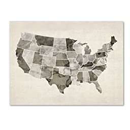 Trademark Fine Art United States Watercolor Map Artwork by Michael Tompsett, 24 by 32-Inch