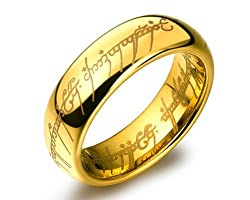 Lord of the rings 100% stainless steel 18K Gold Plated ring for boys and Men by Yellow Chimes
