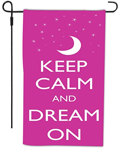 Rikki Knighttm Keep Calm And Dream On - Pink Rose Color Design Garden Flag With Sturdy Black Wrought Iron Flag Pole (Proudly Made In The Usa) front-639409