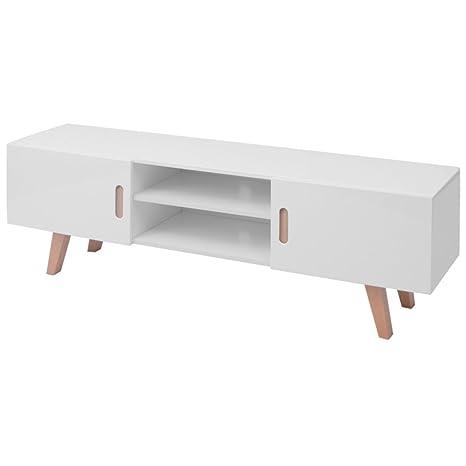 VidaXL Mueble Salón TV MDF Alto Brillo Blanco 150x46,5x48,5 cm Mesa Aparador