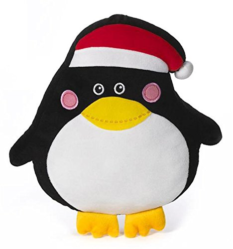 Flat Black Penguin Stuffed Plush Pillow by Ganz - 1