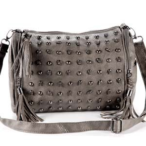 grey metallic Punk Skull Stud Lady Women shoulder Bag PU Leather Tote Hobo Satchel tassel