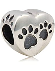 Animal Pet Pawprint Heart Charms Antique 925 Sterling Silver Bead For European Style Bracelet Jewelry