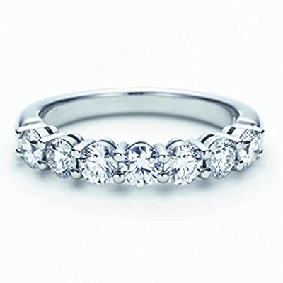 G-H/I1 0.65 Carat Seven Diamond Claw Set Half Eternity Ring,9k White Gold