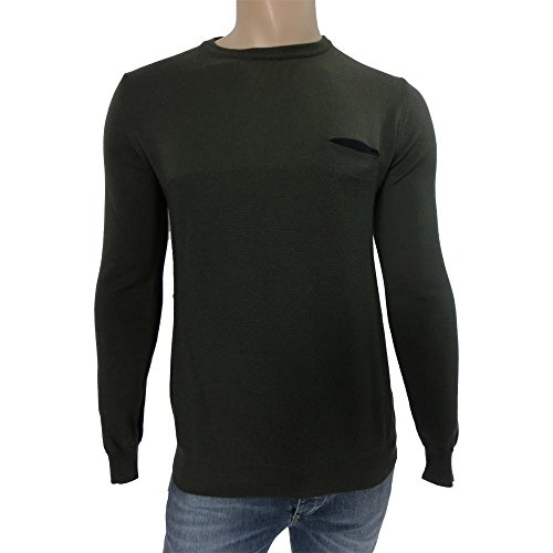 Girocollo uomo +39 Masq 0929 - Maglia 100% lana vergine M90061 made in italy, verde (L)