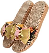 FanselaTM Womens House Bow-knot Flax Anti-slip Slipper