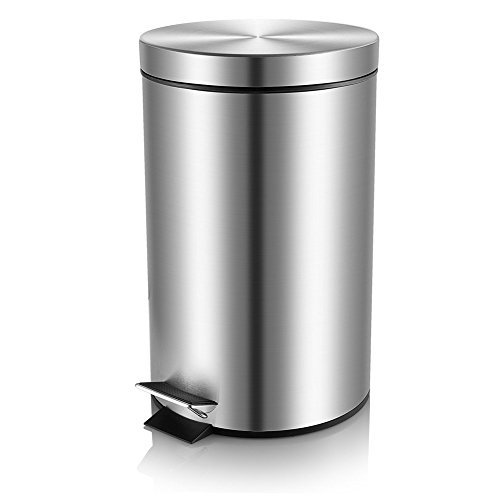 Malmo FE43005L Medium Brushed Stainless Steel Round Step Trash Can, 5L/1.3Gallon (Trash Can Foot Pedal compare prices)
