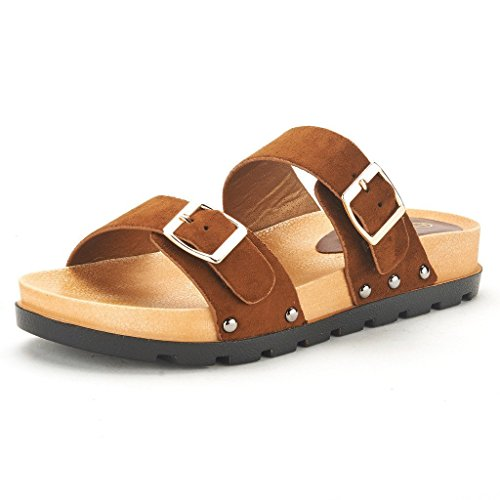 DREAM PAIRS ABI Women's Summer Open Toe Double Buckle Strap Fashion Design Slide On Flat Gladiator Sandals BROWN SIZE 11