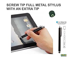 Palo Metal Stylus Pen in Black a with rubber screw tip for most Capacitive Mobile Phone Telephone HQ Tablet Stylus Pen Apple iPhone Ipad Ipad 2 Ipad 3 Ipad Mini Ipod Touch Wifi 3G 3GS 4G 4GS 5 Nokia Samsung Galaxy HTC