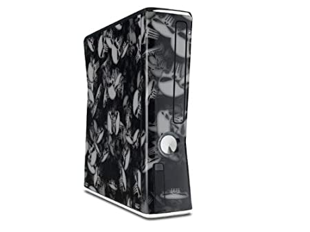 Skulls Confetti White Decal Style Skin for XBOX 360 Slim Vertical