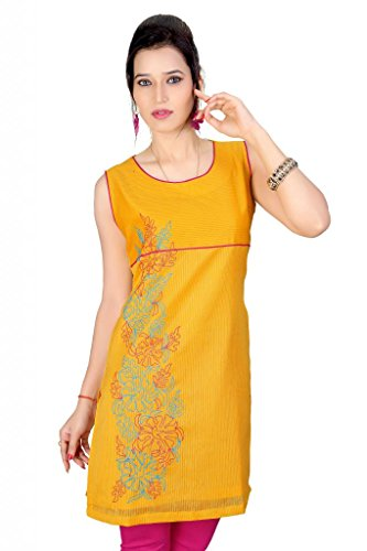 Fashion Curries Yelow Self Stripes Tunic Kurta