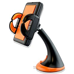 iBenzer Windshield Dashboard Universal Smartphone Car Mount holder for iPhone 4S/5/5S/5C/6/6plus. Galaxy S5/S4/S3/S2, Note 2/3, and ALL smartphone, Sport version - Orange CMH02OR