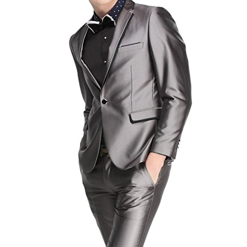 MYS Men's Custom Made Groomsman Shiny One Button Suit Pants Set Grey Size 44R (Fat Daddy Button compare prices)