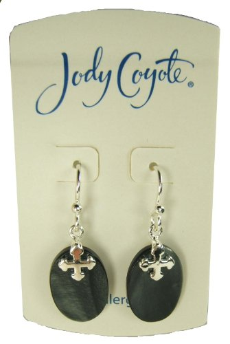 Jody Coyote Silver Oval Polished Shell Cross Earrings