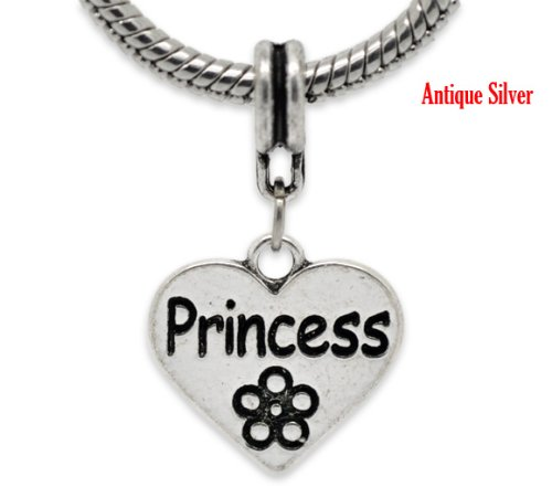 Believe Beads x1 Silver Plated Princess Love Heart Flower Dangle Charm Bead will fit Pandora/Troll/Chamilia Style Charm Bracelet