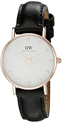 Daniel Wellington Classy Sheffield Women's Quartz Watch with White Dial Analogue Display and Black Leather Strap 0901DW
