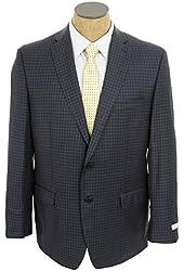 Calvin Klein Mens Navy Blue Check Slim Fit Wool Silk Sport Coat Jacket