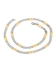 The Jewelbox Mens Stainless Steel Gold Rhodium Italian Designer Links Chain 21""