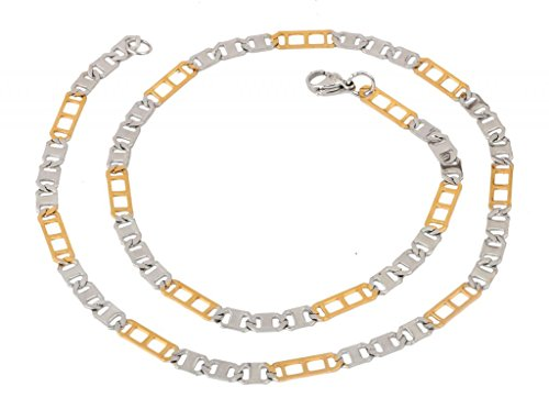 The Jewelbox Mens Stainless Steel Gold Rhodium Italian Designer Links Chain 21
