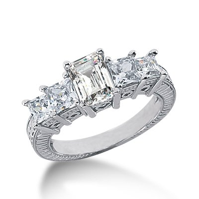 2.25 Ct Diamond Engagement Ring 14k White Gold Emerald Cut Princess Antique Style SI3 H