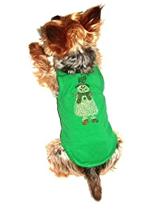 The Dog Squad Snowman Tank Christmas T-Shirt for Pets, Small, Green