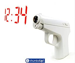 New Secret Agent Vibrating Alarm Clock Projection Gun Thumbs Up