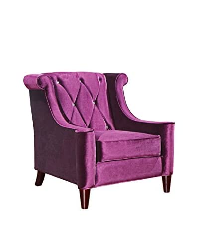 Armen Living Barrister Chair with Crystal Buttons, Purple Velvet