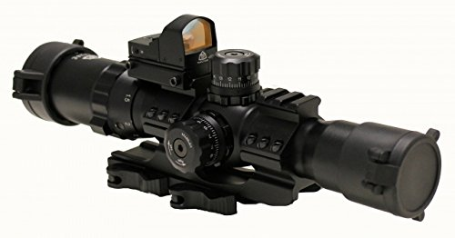 Trinity Force 1-4X28 Assault Scope Combo w/ Red Dot, 28mm, Small Cross Etched Glass Reticle, Black