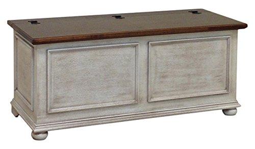 Pieffe Mobili Cassapanca Baule, Legno, Bianco Decapè, Piano Noce, 120 x 42 x 50 cm