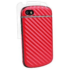 BodyGuardz BZ-ACRQT-0113 Carbon Fiber Armor Full Body Protector for Blackberry Q10 - 1 Pack - Retail Packaging - Red