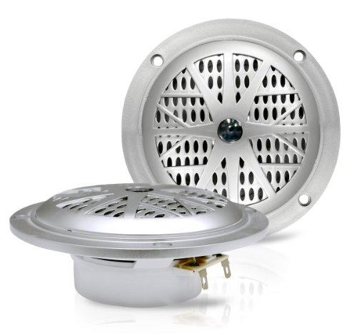 Enrock Ekmss4 - Pair 100W 4-Inch Waterproof Stereo Boat Marine Silver Dual Cone Speakers (Silver)