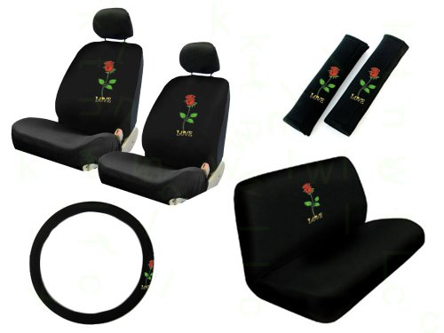 11 Pieces Auto Seat Covers Gift Set: 2 Low Back Front Bucket Seat Covers with Separate Headrest Cover, 1 Steering Wheel Cover, 2 Shoulder Harness Pressure Relief Cover, and 1 Bench Cover - Love Rose Red (Cover De Autos compare prices)