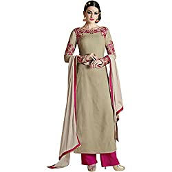 Vasu Saree Georgette Beige Colour Embroidered Palazzo Salwar Suit
