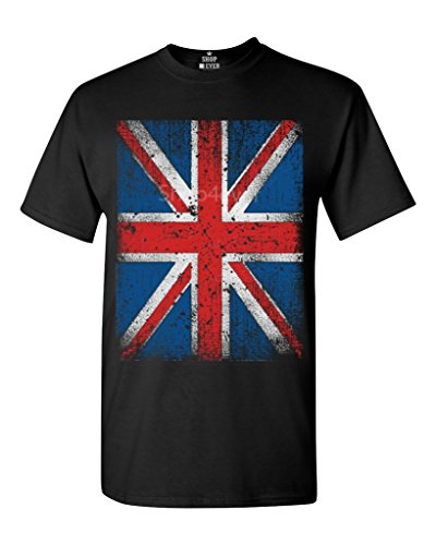 Union Jack Vintage British Flag T-shirt Flag Shirts #13315 X-Large Black (British Flag Tshirts compare prices)