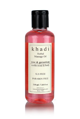 Khadi Rose & Geranium Massage Oil (Sooths Mind & Body ) Without Mineral Oil 210Ml.