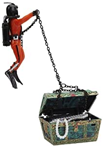 Action air treasure chest diver live for Aquarium scuba diver decoration