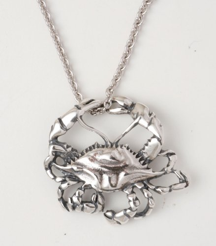 Blue Crab Sterling Silver Necklace with 18 Inch Chain Highly Detailed and Realistic