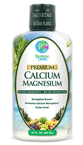 Tropical Oasis Liquid Calcium & Magnesium - Natural formula w/ support for strong bones - Liquid vitamins w/ calcium, magnesium & vitamin D - Up to 96% absorption by the body. - 32oz, 64 Serv. (Natural Oasis compare prices)