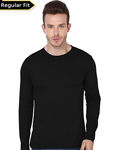 Men's Round Neck Full Sleeve -Tshirt-190 (Black Colour)